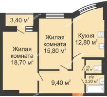2 комнатная квартира 63,5 м² в ЖК Вересаево, дом Литер 9/2 - планировка