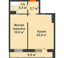 2 комнатная квартира 53,9 м² в ЖК Лесной массив, дом Строение 9 - планировка