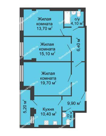 3 комнатная квартира 83,7 м² - ЖК Дом на Береговой
