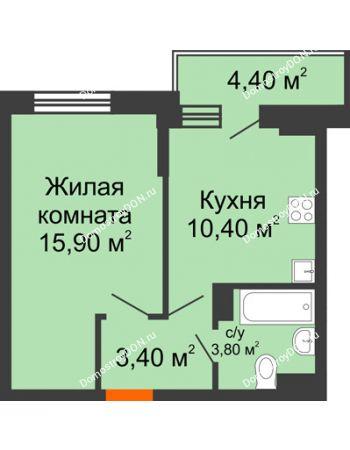 1 комнатная квартира 35,7 м² в ЖК Династия, дом Литер 2
