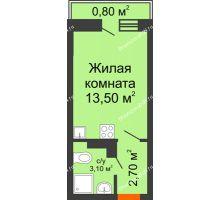 Студия 20 м² в ЖК SkyPark (Скайпарк), дом Литер 1, корпус 1, блок-секция 2-3 - планировка