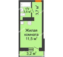 Студия 19,66 м² в ЖК Корабли, дом № 10 - планировка