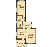 2 комнатная квартира 84,8 м², ЖК Династия на Соборном - планировка