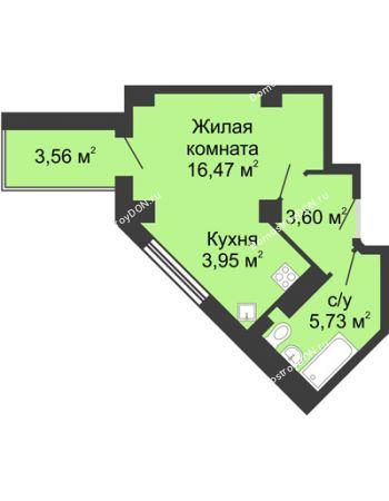 Студия 31,53 м² в ЖК Мега, дом № 2