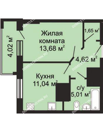 1 комнатная квартира 38,01 м² - ЖК Гелиос