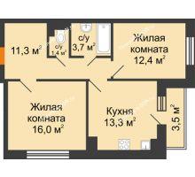 2 комнатная квартира 60,3 м² в ЖК Южный Берег, дом Литер 6 - планировка