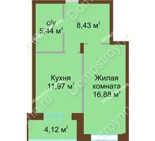 1 комнатная квартира 46,84 м² в ЖК Солнечный город, дом на участке № 208