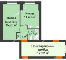 1 комнатная квартира 34,2 м² - ЖК Янтарный