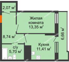 1 комнатная квартира 44,6 м² в ЖК Циолковский, дом № 3 - планировка