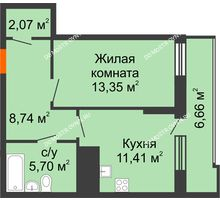 1 комнатная квартира 44,6 м² в ЖК Циолковский, дом № 6 - планировка