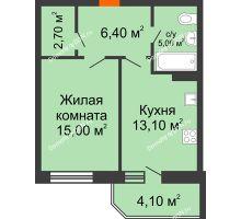 1 комнатная квартира 46,3 м² в ЖК Звездный-2, дом № 3 - планировка