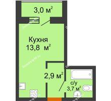 Студия 21,9 м² в ЖК Самолет 2, дом Литер 4 - планировка
