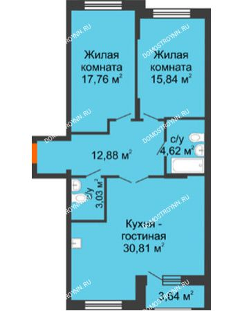 3 комнатная квартира 86,4 м² - Жилой дом: ул. Сухопутная