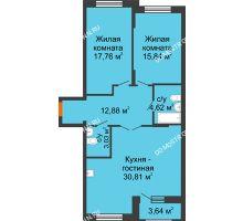 3 комнатная квартира 86,76 м², Жилой дом: ул. Сухопутная - планировка