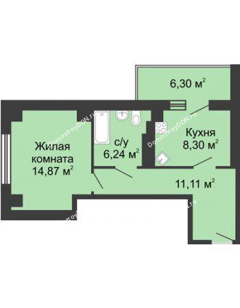 1 комнатная квартира 43,67 м² в ЖК Мега, дом № 2