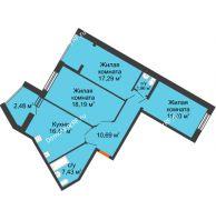 3 комнатная квартира 85,91 м² в ЖК Бунина парк, дом 3 этап, блок-секция 3 С - планировка