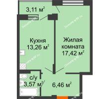 1 комнатная квартира 42,27 м² в ЖК Мандарин, дом 1 позиция 1,2 секция - планировка