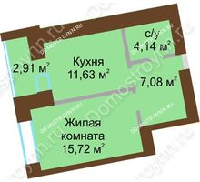 1 комнатная квартира 40,035 м² в ЖК Солнечный город, дом на участке № 214
