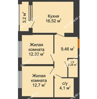 2 комнатная квартира 58,98 м², ЖК Гран-При - планировка