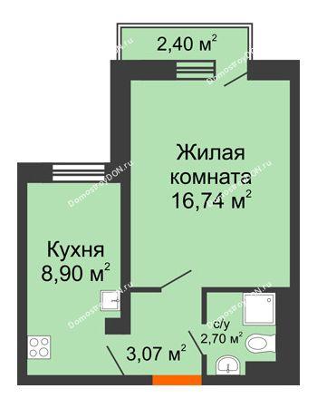 1 комнатная квартира 31,69 м² в ЖК Мечников, дом ул. Таврическая, 4