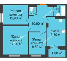 3 комнатная квартира 69,7 м² в ЖК Вересаево, дом Литер 13/1 - планировка