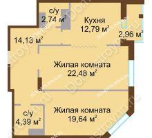2 комнатная квартира 76,17 м² в ЖК Высоково, дом № 2 - планировка