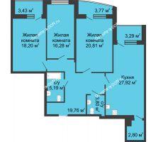 3 комнатная квартира 124,4 м² в ЖК Тихий Дон, дом № 1 - планировка