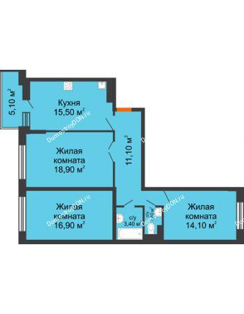 3 комнатная квартира 84,1 м² в ЖК Династия, дом Литер 2