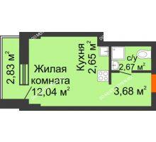 Студия 21,89 м², ЖК Каскад на Путейской - планировка