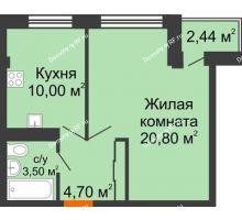 1 комнатная квартира 39,65 м² в ЖК Европа-сити, дом Литер 5 - планировка