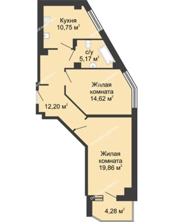 2 комнатная квартира 64,74 м² в ЖК Мега, дом № 1