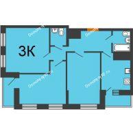 3 комнатная квартира 85,51 м² в ЖК Сокол, дом 5 очередь секция 12,13 - планировка