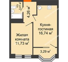 2 комнатная квартира 37,79 м², ЖК Каскад на Менделеева - планировка