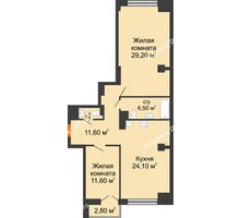 2 комнатная квартира 86 м², ЖК Гагарин - планировка
