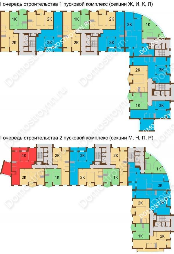 Планировка 11 этажа в доме № 89, корп. 1, 2 в ЖК Монолит