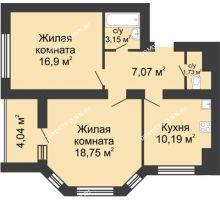 2 комнатная квартира 59,81 м² в ЖК Парк Горького, дом 62/2, №4
