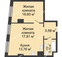 2 комнатная квартира 61,2 м², ЖК Гранд Панорама - планировка