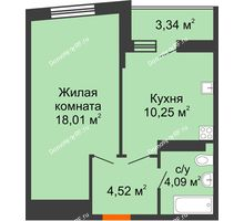 1 комнатная квартира 38,54 м², ЖК Сограт - планировка
