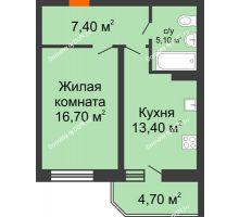 1 комнатная квартира 47,3 м² в ЖК Звездный-2, дом № 4 - планировка