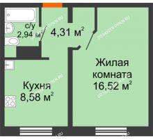 1 комнатная квартира 32,25 м² в ЖК Бурнаковский, дом № 47 - планировка