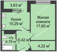 1 комнатная квартира 44,7 м² в ЖК Облака, дом № 1