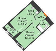 1 комнатная квартира 40,23 м² в ЖК Дом на Набережной, дом № 1 - планировка