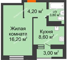 1 комнатная квартира 34,3 м² в ЖК Подкова на Цветочной, дом № 8 - планировка