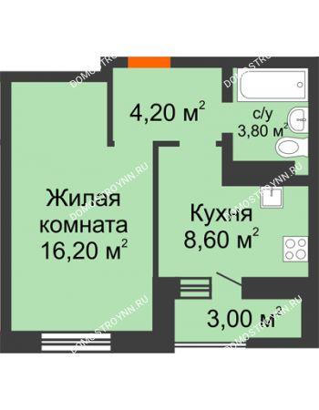 1 комнатная квартира 34,3 м² в ЖК Подкова на Цветочной, дом № 7