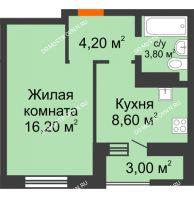 1 комнатная квартира 35,8 м² в ЖК Подкова на Цветочной, дом № 9 - планировка