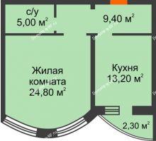 1 комнатная квартира 52,4 м², ЖК по ул. Циолковского - планировка