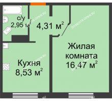 1 комнатная квартира 32,26 м² в ЖК Торпедо, дом № 19 - планировка