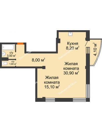 2 комнатная квартира 68,5 м² - ЖК Южная Башня