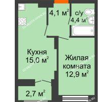1 комнатная квартира 37,75 м² в ЖК Заречье, дом №1, секция 2 - планировка