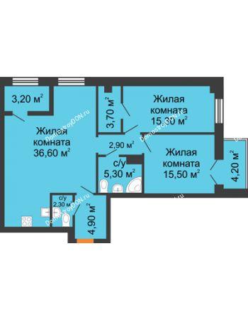 3 комнатная квартира 90,9 м² - ЖК Дом на 18-й Линии, 3